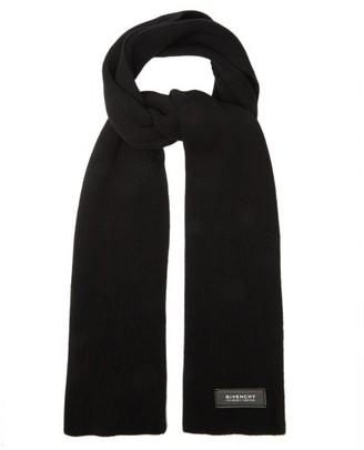 Givenchy Logo-tab Wool-blend Scarf - Black