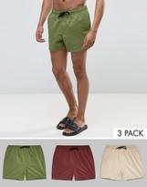 Asos Swim Shorts 3 Pack In Khaki Plum & Stone Short Length SAVE