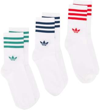 adidas Set Of Three Signature Stripe Ankle Socks