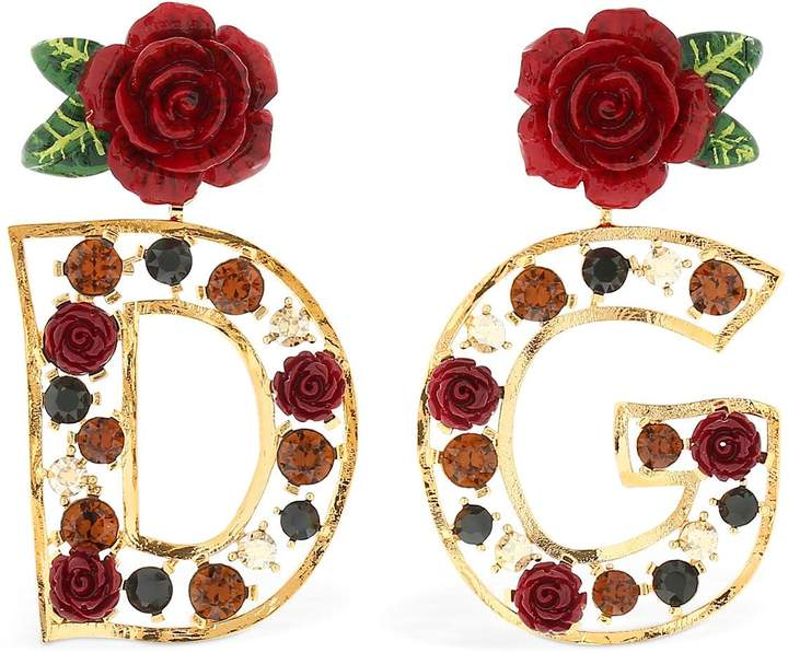 Dolce & Gabbana Crystals & Roses Earrings