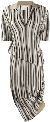 Bottega Veneta Striped Openwork Detailed Knit Dress