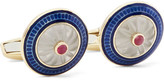 Deakin & Francis 18-Karat Gold, Vitreous Enamel and Ruby Cufflinks