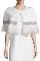Carolyn Rowan Adler Mink Fur Capelet W/Feather Trim, White