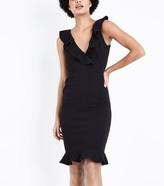 New Look AX Paris V-Neck Frill Front Midi Dress