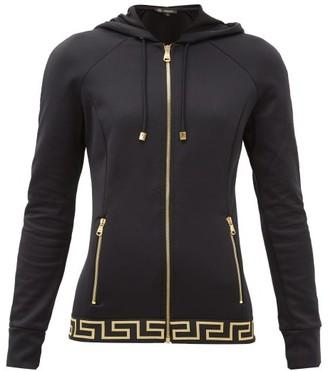 Versace Zip-up Tech-jersey Hooded Sweatshirt - Black