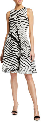 Pamella Roland Sleeveless Abstract Fil Coupe Dress