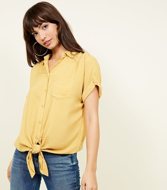 New Look Rolled Sleeve Tie Front Shirt