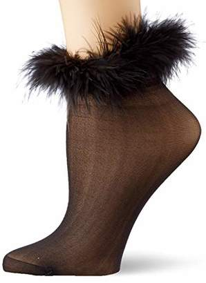 Dreamgirl Women's Marabou-Trimmed Sheer socks,One (Size:)