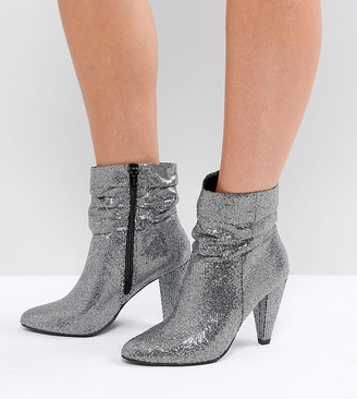 New Look Wide Fit Slouch Glitter Ankle Boot-Silver