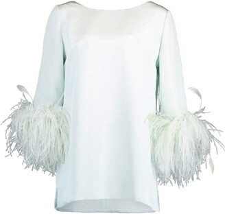 Catherine Regehr Mint Feather Cuff Boat Neck Top