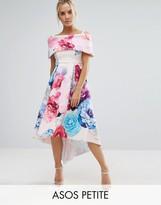 Asos Placed Floral Dip Back Bardot Off Shoulder Maxi Dress