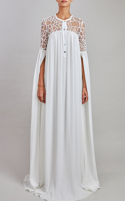 Elie Saab Tulle Embroidery And Silk Chiffon Gown