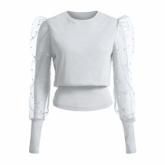 Andouy Women's Longsleeved Perspective Dot Net Yarn Bead Blouse Lace Splicing Fashion O-Neck Lantern Sleeve Tops Pullover Streetwear T-Shirt White