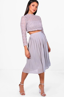 boohoo Boutique Lace Top and Midi Skirt Set
