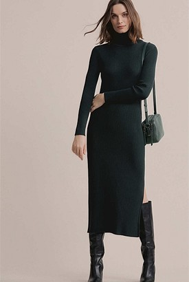 Witchery Roll Neck Rib Knit Dress