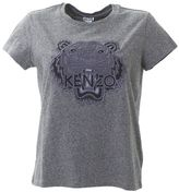 Kenzo Embroidered Logo Grey Cotton T-shirt