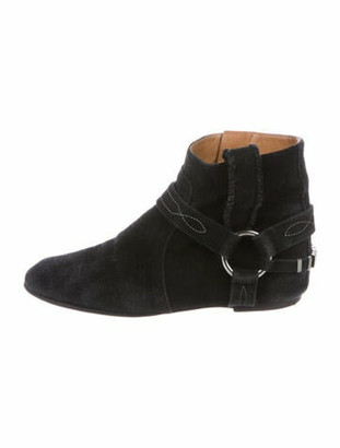 Etoile Isabel Marant Suede Embroidered Accent Western Boots Black