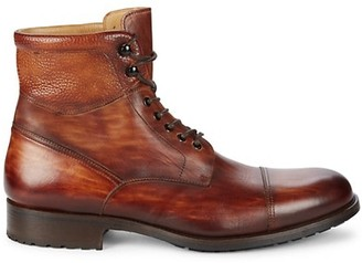 Magnanni Peyton II Cognac Burnish Leather Ankle Boots