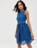 Little Mistress geomatric lace sleeveless midi skater dress