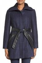 Via Spiga Collared Waist Belt Faux Leather Coat