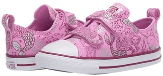Converse Chuck Taylor(r) All Star(r) 2V Mermaid (Infant/Toddler) (Peony Pink/Rose Maroon/White) Girl's Shoes