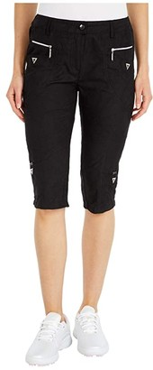 Jamie Sadock Micro Crunch Textured Knee Capris (Jet Black) Women's Casual Pants