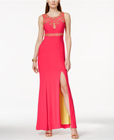 Betsy & Adam Sleeveless Embellished Illusion Gown