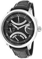 Maurice Lacroix Men's Masterpiece Mechanical GMT Retrograde Black Dial Black Genuine Alligator