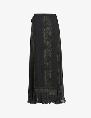 AllSaints Cosmo Masala snake-print crepe midi skirt