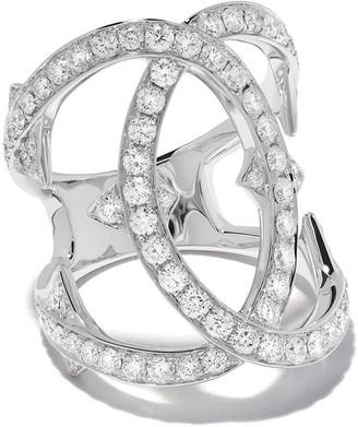 Loree Rodkin 18kt White Gold Medium Pave Diamond Interlink Ring