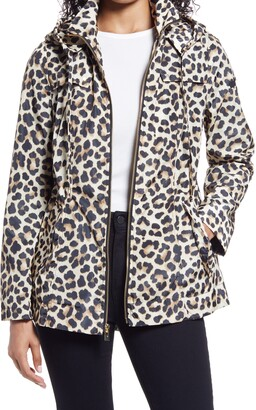 Via Spiga Water Resistant Animal Print Packable Hooded Jacket