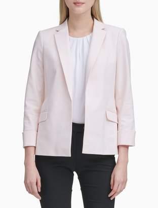 Calvin Klein Cotton Stretch Open Front Cuffed Jacket