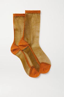 Maria La Rosa Golf Two-tone Tulle Socks - Gold