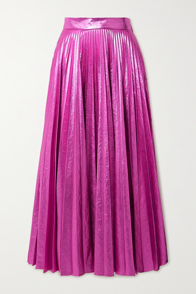 Christopher Kane Pleated Crinkled-lame Maxi Skirt - Magenta