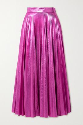 Christopher Kane Pleated Crinkled-lame Maxi Skirt - Magenta