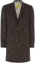 Noose and Monkey Men's Leopard Print Wool Overcoat Coat