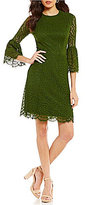 London Times Bell-Sleeve Geo Lace Fit-and-Flare Dress