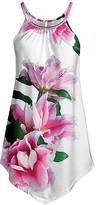 Lily Women's Tunics WHT - White & Pink Floral Point-Hem Sleeveless Tunic - Women & Plus