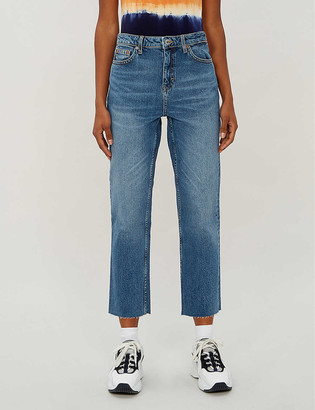 Topshop Faded cropped straight high-rise jeans