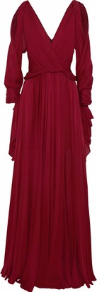 Jenny Packham Cold-shoulder Draped Silk Gown