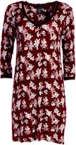 Bordeaux Floral Lace-Trim Nightgown