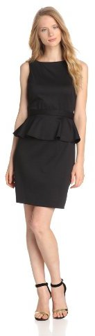 Isaac Mizrahi Women's Belted Peplum Dress, Black, 2 US