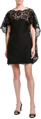 Valentino Lace-Cape Shift Dress