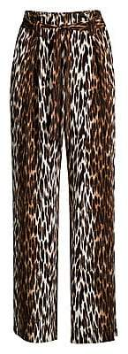 L'Agence Women's Bobby Leopard-Print Silk Trousers - Size 0