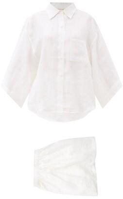 Deiji Studios 03 Short Linen Pyjamas - White