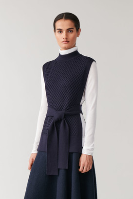 Cos Merino Cable Knit Long Tabard