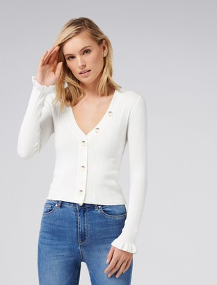 Forever New Jessie Button-Up Knit Cardigan - Porcelain - l
