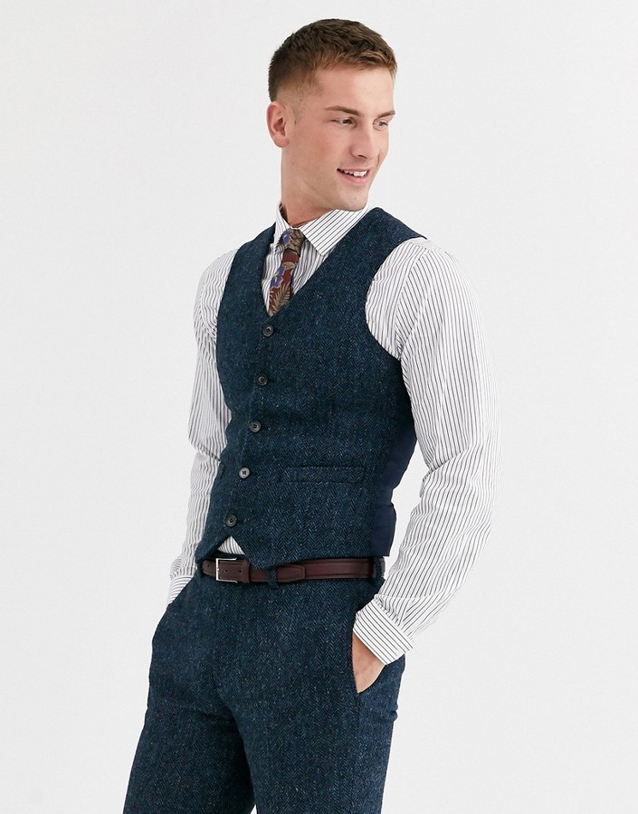 ASOS DESIGN Slim Vest in 100% Wool Harris Tweed in Blue Herringbone