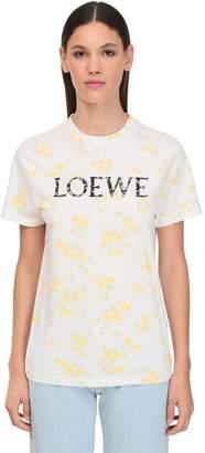 Loewe FLORAL PRINTED JERSEY T-SHIRT W/ LOGO