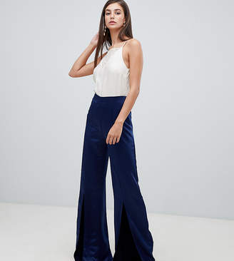 True Violet Tall wide leg trousers with split-Navy